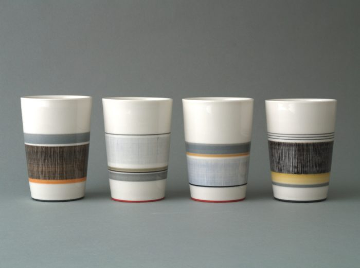 decorated glazed beakers