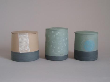 stoneware lidded jars