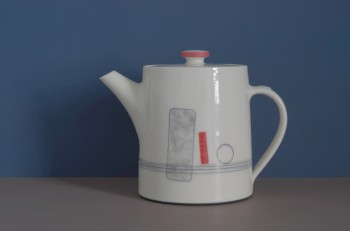 thrown porcelain teapot with red rectangle by James and Tilla Waters