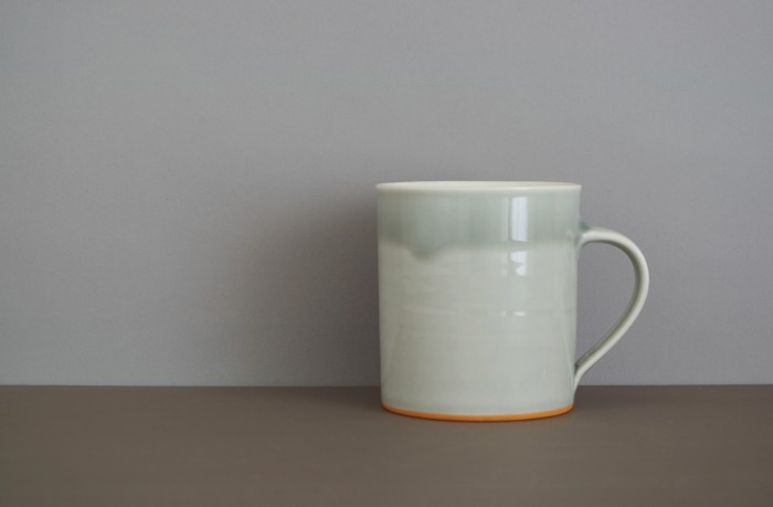 small grey orange mug by James and Tilla Waters