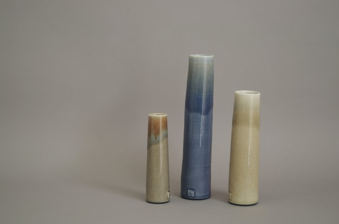three thrown porcelain vases by James and Tilla Waters.