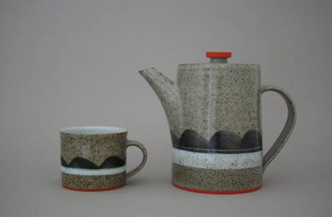stoneware cup and teapot by James and Tilla Waters