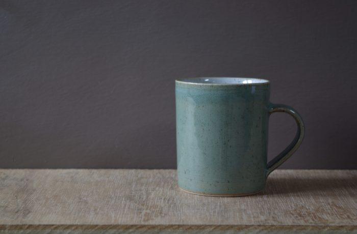small celadon mug by James and Tilla Waters